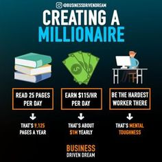 Being a millionaire consists of a few things and it starts with the mindset. Reading and gathering knowledge in whatever form is best for… Entrepreneur Motivation, Business Motivation, Business Entrepreneur, Motivation Success, Money Plan, Money Tips, Blockchain, Planning Budget, Budget Planer