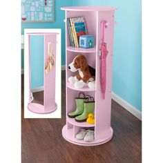 Have to have it. KidKraft Small Swivel Vanity $111.99 DIY w bookcase, lazy Susan, pin board, mirror  In room for dress up or downstairs for shoes!