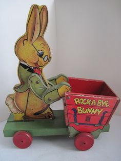 Vintage Toys Fisher Price Rock A Bye Bunny Cart. love it and wish I had it for my collection. Jouets Fisher Price, Fisher Price Toys, Vintage Fisher Price, Retro Toys, Vintage Toys, 1950s Toys, Toys Land, Easter Toys, Electronic Toys