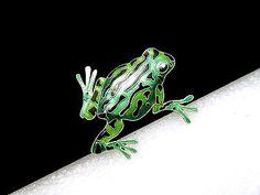 Sterling Silver Enamel Frog Brooch