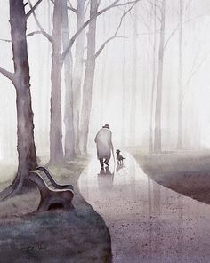 Friendship 1 - Original Watercolor Archival Print - Man, Dog, Friendship, Park, Tree, Misty, Companion, Father's day on Etsy