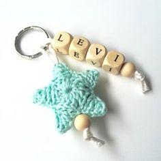 Angels Handmade - sleutelhanger met gehaakte ster en naam