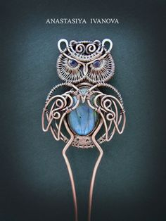I Create Owl Jewelry Out Of Copper And Natural Stones | Bored Panda
