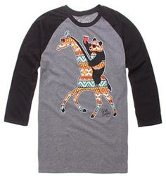 Aztec Panda & giraffe long sleeved baseball tee.