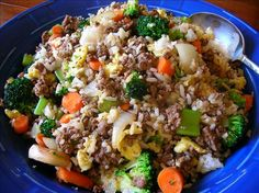 ground beef #fried #rice with broccoli & peppers ~ other vegetables (i.e., shredded carrots, snow peas) would work well with  hoisin and/or sriracha