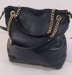 Pretty Michael Kors Large Pebbled Leather Chained Convertible NAVY Blue Handbag #MichaelKors #Crossbody