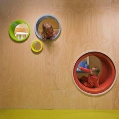 A brightly colored and nicely separated space, the children's areas are partly built in to the architecture.