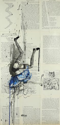 "Saatchi Online Artist: Sara Riches; Ink 2013 Drawing ""Down the Rabbit Hole"". This is really cool because I do stuff like this. I like to draw in really cheap books :)"