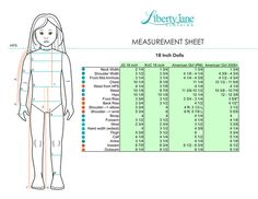 18 Inch Doll Measurements Chart | Compare Journey Girls, Kidz N Cats, American Girl and Pre-Mattel American Girl Dolls | Pixie Faire