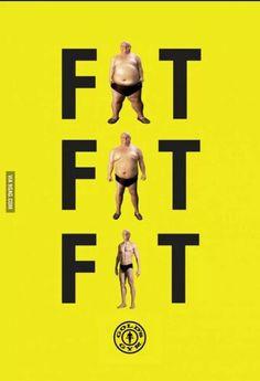 Publicidad de un gimnasio. De gordo a estar en forma (FAT-FIT)