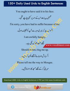 Learn English vocabulary in Urdu. English through Urdu made easy. Easiest way to learn English vocabulary in Urdu. English to Urdu Vocabulary. English Grammar Tenses, Learn English Grammar, English Vocabulary Words, Learn English Words, English Language Learners, English Phrases, English Idioms, English Writing, English Study