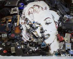 Rio de Janeiro-based artist Christian Pierini has demonstrated his artistic talent through his series of innovative art installations, where he. Electronic Scrap, 3d Portrait, Atelier D Art, Design Art, Graphic Design, Celebrity Portraits, Norma Jeane, Technical Drawing, Cultura Pop