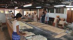 Femmes cuire biscuits manioc à la célèbre Biscuiterie Rault à Mahebourg, Ile Maurice — Séquence vidéo #69246789