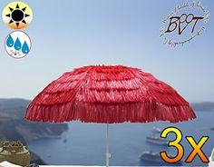 Pack of 3) (XXL), Hawaii Style With Fringe Red Parasol – Extreme Weatherproof for Caribbean Holiday Home, approx. 180 cm – 200 cm Heavy Duty an XXL Folding Umbrella Folding Parasol Sun Shade Garden Outdoor Beach Picnic Camp Fire, Portable, Sea Water, High Quality Robust Rugged Heavy Duty Umbrella Folding Umbrella, Beach Umbrellas, Sun Umbrellas, Sun Umbrella, Sun Protection