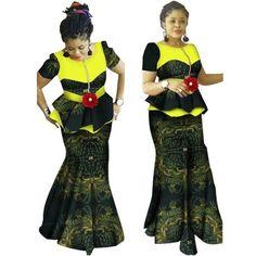 African Clothing For Women Dashiki Patchwork 2-Piece Top-Skirt Setflower Ruffles