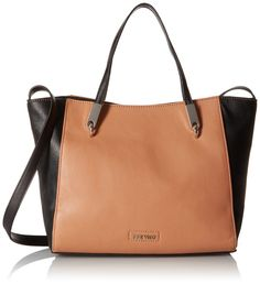 Nine West Forces above Satchel, Dark Camel/Black. Crossbody strap.
