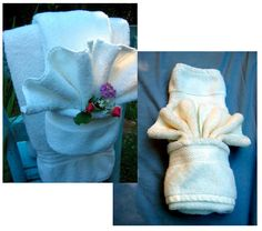 Fancy pants: learn how to fold towels like the pros!  (Another great party trick, FYI)
