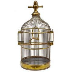 19th Century Large Brass Birdcage