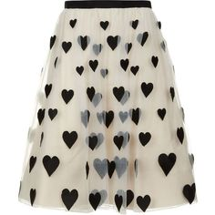 Alice + Olivia Catrina Embroidered Midi Skirt Off White/Black |... ❤ liked on Polyvore featuring skirts, bottoms, faldas, black and white skirt, black white skirt, white and black skirt, alice olivia skirt and alice + olivia