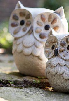 "Sculpture - Pebble Stone Owl Sculpture - Garden Statue - Owl Figurine - 13""h by Kensington Row Collection,"