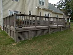 Get your exercise and also relax and enjoy the beautiful outdoors on your low maintenance deck with custom railing. AZEK makes a great decking choice for this lovely deck with pool spa. Deck Gate, Gazebo On Deck, Deck Stairs, Deck Railings, Backyard Decks, Stone Porches, Decks And Porches, Deck Underpinning Ideas, Porch Lattice