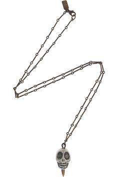 PAMELA LOVE - Antique silver-plated skull necklace