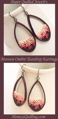 Maroon Ombre Paper Quilled Teardrop Earrings - Honey's Quilling http://www.honeysquilling.com/maroon-ombre-paper-quilled-teardrop-earrings-eco-friendly-jewelry/