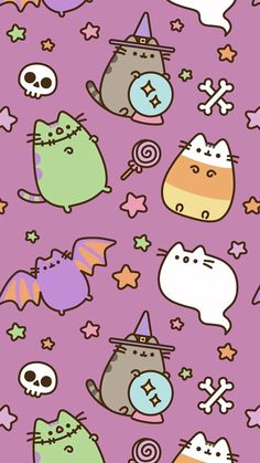 Here are ADORABLE Pusheen Halloween themed phone wallpapers! I absolutely love pusheen as well as Halloween, can it get better? Cartoon Wallpaper, Iphone 8 Wallpaper Hd, Halloween Wallpaper Iphone, Wallpapers Android, Fall Wallpaper, Halloween Backgrounds, Kawaii Wallpaper, Cute Wallpaper Backgrounds, Christmas Wallpaper