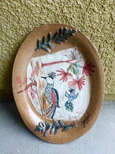 Sweet woodpecker ceramic plate! Appetizer!!