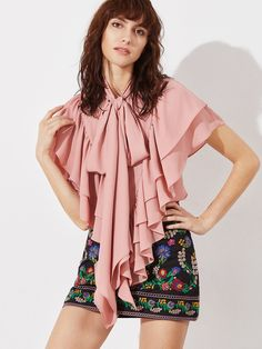 Online shopping for Pink Tie Neck Frilled Layered Cape Top from a great selection of women's fashion clothing & more at MakeMeChic.COM.