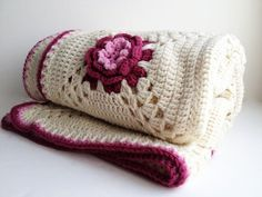 crochet afghan, Irish rose 3-D flower afghan, handmade pink rose motif -  #home_design #home_decor #home_ideas #kitchen #bedroom #living_room #bathroom - http://myshabbyhomes.com/crochet-afghan-irish-rose-3-d-flower-afghan-handmade-pink-rose-motif/