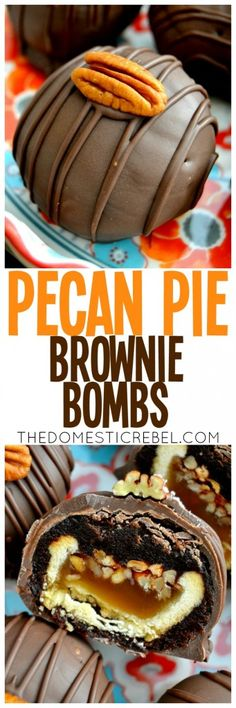 These Pecan Pie Brownie Bombs are addictive, easy and delicious! Miniature prepared pecan pies are surrounded by fudgy brownies and coated in chocolate. This is a great alternative to a holiday dessert!