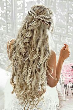 Braided half up and beachy! Beach & summer wedding hair inspiration. find your dream wedding gown www.customdreamgowns.com  #CrownBraidHalf