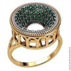 Купить Кольцо серебренное, золотое КОЛИЗЕЙ с камнями - золотой, кольцо, кольцо с камнем