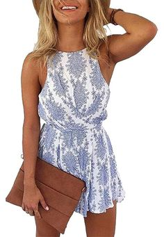 LUKYCILD Women Sexy Strap Backless Summer Beach Party Romper Jumpsuit Size S - Material:Cotton blend,Polyester,Blue Color runs small,pls choose one or two size up than your usual - Set strap backless romper jumpsuit Jumpsuit Damen Elegant, Boho Jumpsuit, Jumpsuit Lang, Backless Jumpsuit, Bodycon Jumpsuit, Short Jumpsuit, Short Playsuit, Floral Jumpsuit, Clothes For Summer