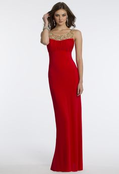 Camille La Vie Jersey Illusion Neckline Prom Dress in Flame Red