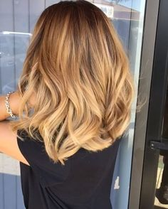 Warm gold balayage by Toby Hair2001 to #ombre #ombrehair #longbob #balayage…