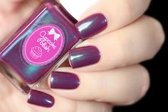Color description: muaveFinish: creme polish with magenta/purple/blue/green/teal multichrome shimmerNumber of coats: 2-3Texture: smoothTop Coat: Recommended Staining: None reported