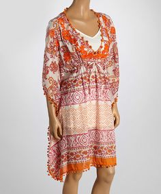 Cuteness! Orange & Red Abstract Embellished V-Neck Tunic by Boemo #zulilyfinds