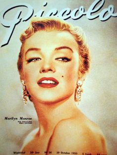 Marilyn Monroe on the cover of Piccolo magazine, 29 October, 1950, Belgium. Cover photo of Marilyn in publicity for All About Eve, 1950.
