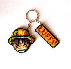 One Piece Luffy keychain hama mini beads by FreakCreations