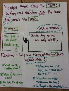 Identifying topic vs. main idea