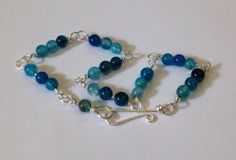 Blue Dragon Vein Agate Bracelet by wrappedandwired on Etsy, $18.00