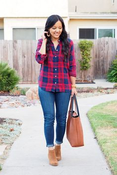 red navy plaid + jeans + tan booties= perfect Fall Outfit