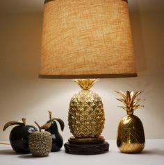 RESERVED for Kelly Vintage Gold Brass Pineapple by JudysJunktion