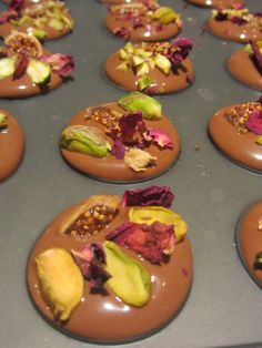 Gianduja Mendiants with Rose Petals, Fig, and Pistachio