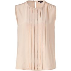 RAOUL Nude Pleated Front Silk Top ($140) ❤ liked on Polyvore featuring tops, blouses, shirts, fitted shirt, slim fit shirt, pink silk shirt, pink blouse and pink silk blouse