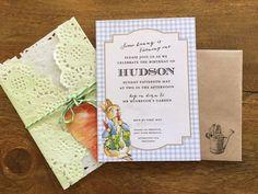 Cute Peter Rabbit birthday invitation or baby shower invite  #hudsonmeetrose www.hudsonmeetrose.com.au