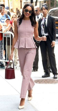 Laura Harrier in Brock Collection visits the AOL Build Series in NYC. Mom Outfits, Office Outfits, Stylish Outfits, Diva Fashion, Star Fashion, Casual Dresses, Fashion Dresses, Calf Length Dress, Business Fashion