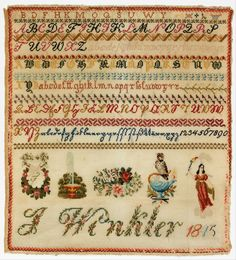 A Fabulous 19th Century German Biedermeier WoolWork & Bead Sampler Stitched By J Winkler In 1845